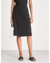 Theory - Buckle-detail Crepe Wrap Skirt - Lyst