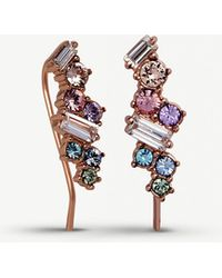 Olivia Burton - Rainbow Bee 3d Rose Gold Stud And Crawler Earrings - Lyst
