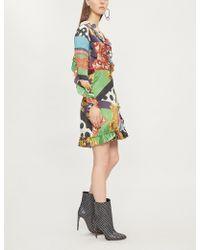 The Kooples - Mixed-print Silk-satin Wrap Dress - Lyst