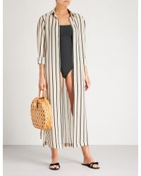 Asceno - Striped Silk-crepe De Chine Shirt Dress - Lyst