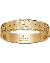 Gucci - Icon Hammered 18ct Yellow Gold Ring - Lyst