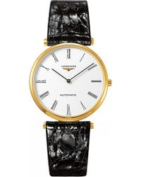 Longines - L49082112 La Grande Classique Presence Yellow Gold Plate And Leather Watch - Lyst