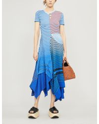 Loewe - Tiered Striped Broderie Anglaise-trimmed Cotton-jersey Midi Dress - Lyst