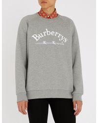 Burberry - Battarni Logo-embroidered Cotton-jersey Sweatshirt - Lyst