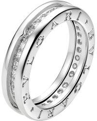 BVLGARI - B.zero1 18kt White-gold And Pavé-diamond Ring - Lyst