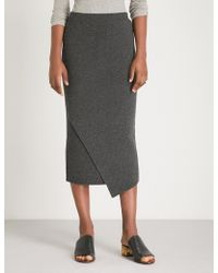 Allude - Asymmetric-hem Wool And Cashmere-blend Midi Skirt - Lyst