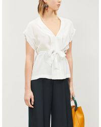 Sandro - Belted Silk Crepe Top - Lyst