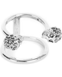 Alexander McQueen - Twin Skull Silver-plated Double Band Ring - Lyst
