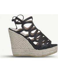 Office - Berti Glitter Leather Wedge Sandals - Lyst