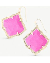 Kendra Scott - Kirsten 14ct Gold-plated And Magenta Magnesite Stone Drop Earrings - Lyst