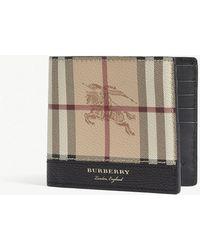 Burberry Haymarket Check Leather Billfold Wallet - Brown