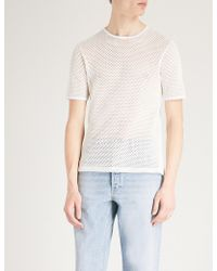 Sandro - Semi-sheer Cotton-mesh T-shirt - Lyst