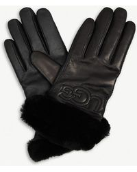 UGG - Stitched Logo Leather Gloves - Lyst
