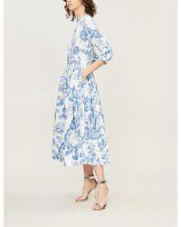 Oscar de la Renta - Belted Floral-print Stretch-cotton Midi Dress - Lyst