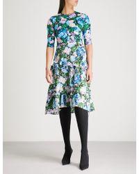 Balenciaga - Black And Purple Floral-print Stretch-jersey Midi Dress - Lyst
