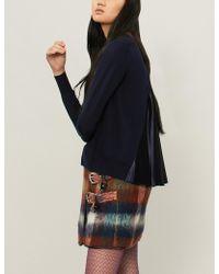 Sacai - Satin-panel Wool Cardigan - Lyst