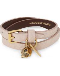 Alexander McQueen - Skull Leather Double Wrap Bracelet - Lyst