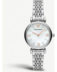 0bbc10c67 Emporio Armani - Ar11204 Gianni T-bar Stainless Steel And Mother-of-pearl