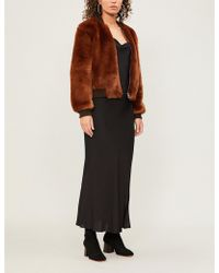 Elizabeth and James - Cropped Faux-fur Bomber Jacket - Lyst