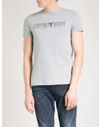 Emporio Armani | Triple Logo-print Cotton-jersey T-shirt | Lyst