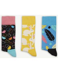 Happy Socks - Combed Cotton-blend Pack Of Three Socks - Lyst