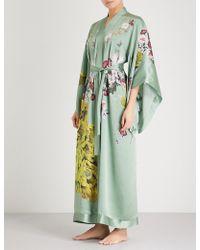 Meng - Floral-print Silk-satin Kimono Robe - Lyst