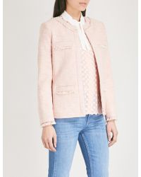 Claudie Pierlot - Frayed Cotton-blend Tweed Jacket - Lyst