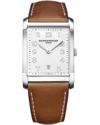Baume & Mercier - Hampton 10153 Polished Steel And Leather Watch - Lyst