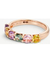 BUCHERER JEWELLERY - Pastello Rivière 18ct Rose-gold And Sapphire Ring - Lyst