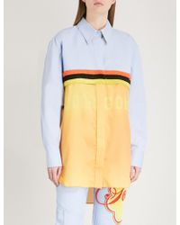 Fyodor Golan - Logo-print Cotton And Satin Shirt - Lyst
