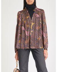 Ba&sh - Danila Ruffled Printed Chiffon Shirt - Lyst
