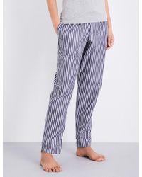 Sunspel - Striped Cotton Pyjama Bottoms - Lyst