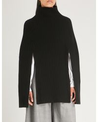 Pringle of Scotland - Turtleneck Ribbed Wool And Cashmere-blend Poncho - Lyst