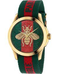 Gucci - Ya126487 Fashion Capsule Gold And Nylon Watch - Lyst