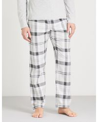 The White Company - Checked Brushed-cotton Pyjama Bottoms - Lyst