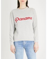 Claudie Pierlot - Text-embroidered Cotton-blend Sweatshirt - Lyst