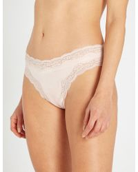 Stella McCartney - Clara Whispering Silk And Lace Thong - Lyst