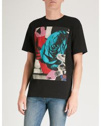 Paul Smith - Rose Square-print Cotton-jersey T-shirt - Lyst