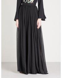 Elie Saab   Pleated Silk Maxi Skirt   Lyst