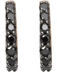 Astley Clarke - Mini Halo 18ct Rose-gold And Black Diamond Hoop Earrings - Lyst