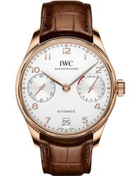 Iwc - Iw500701 Portugieser Alligator-leather And Rose-gold Watch - Lyst