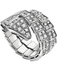 BVLGARI - Serpenti 18kt White-gold And Diamond Ring - Lyst