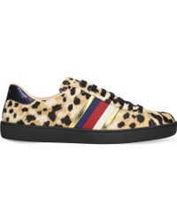 Gucci - New Ace Leopard-print Pony-hair Trainers - Lyst