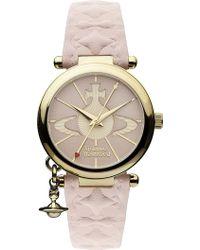 Vivienne Westwood | Vv006pkpk Gold-toned Leather Watch | Lyst