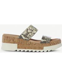 99e32f0f57aa Steve Madden - Blaine Snakeskin-embossed Leather Sandals - Lyst