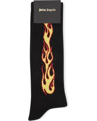 Palm Angels - Ladies Gold Flames Cotton Socks - Lyst