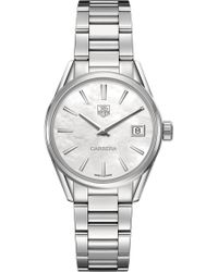 Tag Heuer - War1311.ba0773 Carrera Stainless Steel And Mother-of-pearl Watch - For Women - Lyst