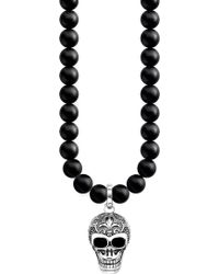 Thomas Sabo   Rebel At Heart Skull Sterling Silver And Obsidian Necklace   Lyst