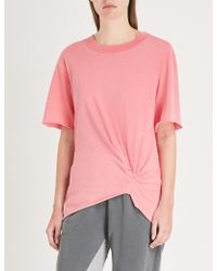 Stateside - Knotted Cotton-jersey T-shirt - Lyst