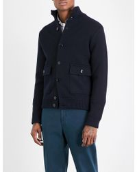 Slowear - High-neck Wool Knitted Bomber Jacket - Lyst